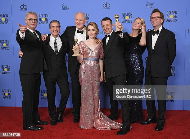 74th ANNUAL GOLDEN GLOBE AWARDS Pictured The cast and creators of 'The Crown' pose with the Best Performance by an Actress in a Television Series —...