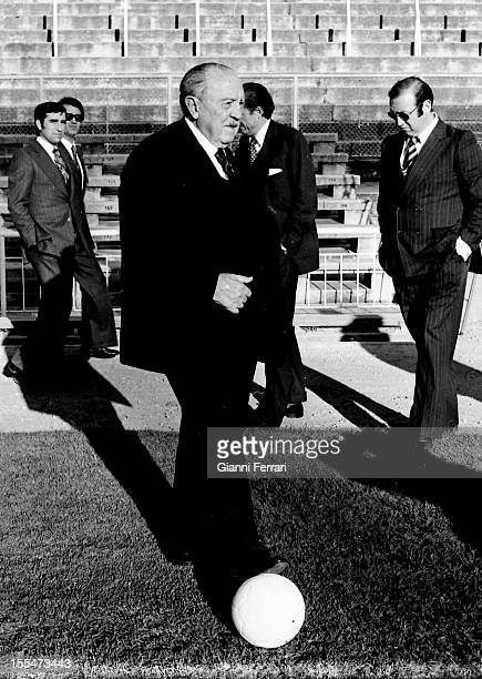 75th Anniversary of Real Madrid the President of the team Santiago Bernabeu in the stadium with his name Madrid Castilla La Mancha Spain