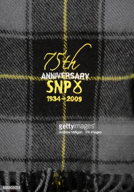 A 75th anniversary tartan at Stirling University during celebrations to mark the 75th anniversary of the formation of the SNP