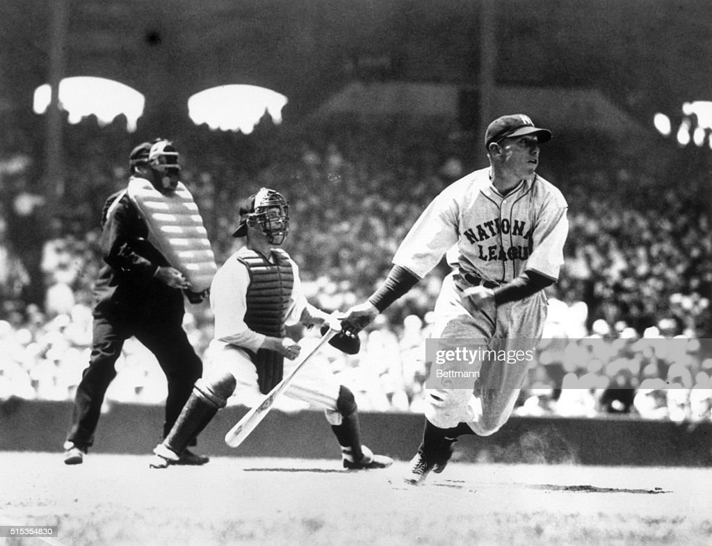 7/6/1933Chicago IL AllStar game Comiskey Park Chuck Klein of Philadelphia is shown after having hit the baseball in the first inning Rick Ferrell of...