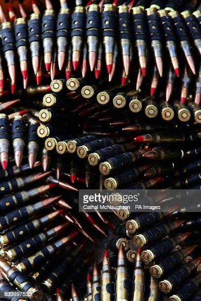 762mm ammunition from a Challenger II Tank is sorted in Basra Airport where British troop are currently stationed