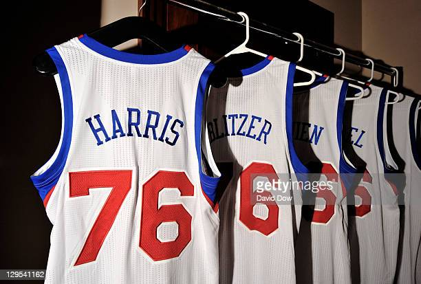 A 76ers jersey with the name of Joshua J Harris senior managing director and founding partner of Apollo Global Management LLC hangs before the press...