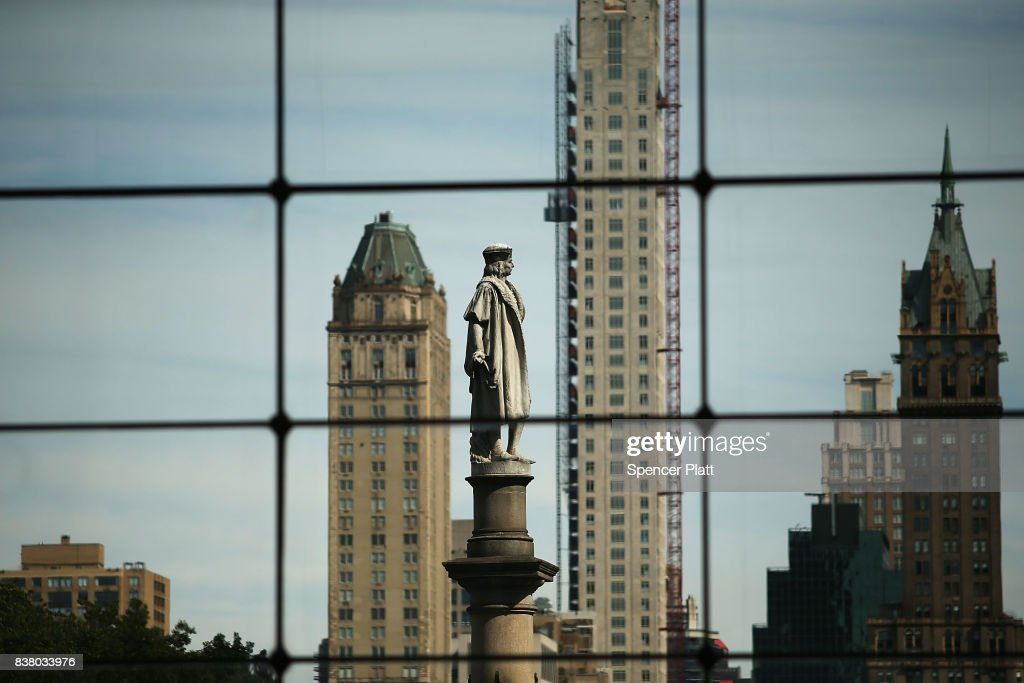 A 76-foot statue of explorer Christopher Columbus stands in Columbus circle on August 23, 2017 in New York City. Following the recent violence in Charlottesville, many politicians, activists and citizens are calling for monuments dedicated to Confederate-era and other controversial figures to be taken down. Some New York politicians have included Columbus in this political debate.