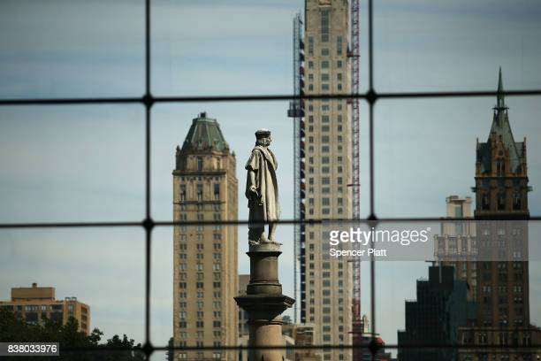A 76foot statue of explorer Christopher Columbus stands in Columbus circle on August 23 2017 in New York City Following the recent violence in...