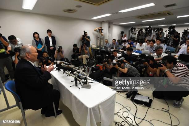 77yearold professional shogi player Hifumi Kato speaks during his retirement press conference at Shogi Kaikan on June 30 2017 in Tokyo Japan