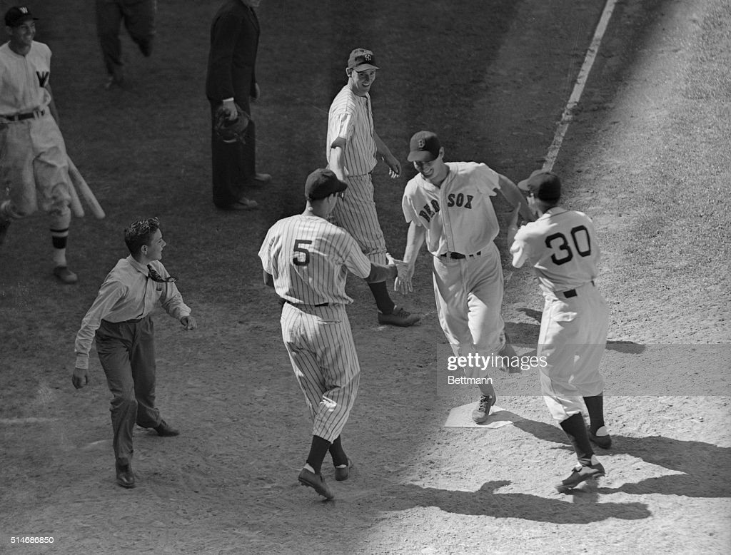 7/9/41Detroit Michigan Ted Williams the Boston Howitzer crossing the plate in the 9th inning of yesterday's allstar game on the circuit blast which...