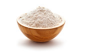 wheay flour in wooden bowl