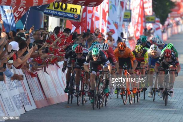 Sam Bennett a Belgiumborn Irish professional cyclist from BoraHansgrohe team on his way to win the opening stage the 1767km Alanya to Kemar stage of...