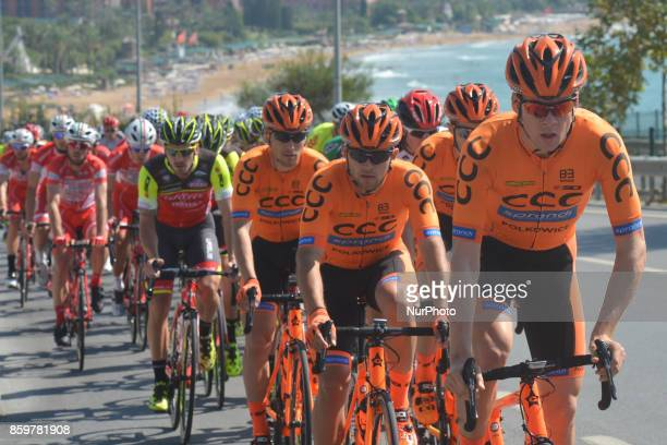 Members of CCC Sprandi Polkowice team from Poland during the opening stage the 1767km Alanya to Kemar stage of the 53rd Presidential Cycling Tour of...