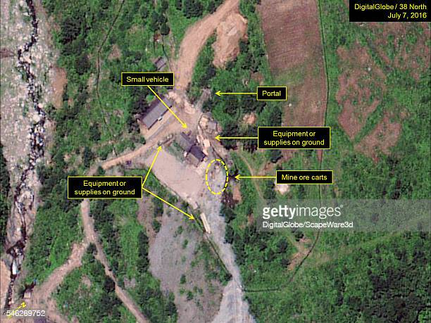 Figure 1 DigitalGlobe satellite imagery showing supplies equipment a vehicle and several mine ore carts identified at the North Portal