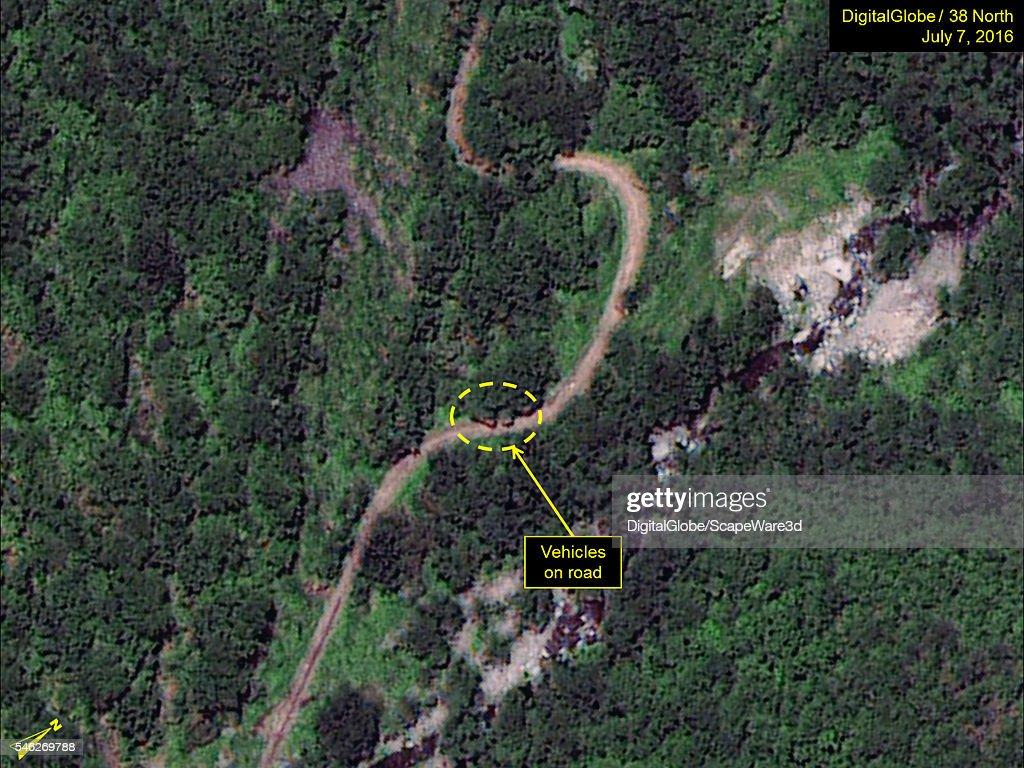 Figure 5 DigitalGlobe satellite imagery showing vehicles identified on facility access road