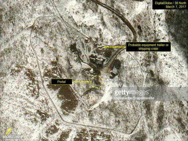 Figure 1 DigitalGlobe imagery showing large shipping container or crate seen at the North Portal Date March 7 2017