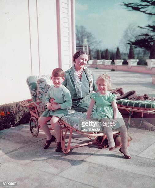 Queen Elizabeth The Queen Mother with her grandchildren Prince Charles and Princess Anne