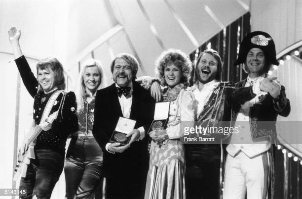 Pop group ABBA who won the 1974 Eurovision Song Contest at the Dome Brighton Sussex From l to r Bjorn Ulvaeus Agnetha Faltskog song writer Stikkan...