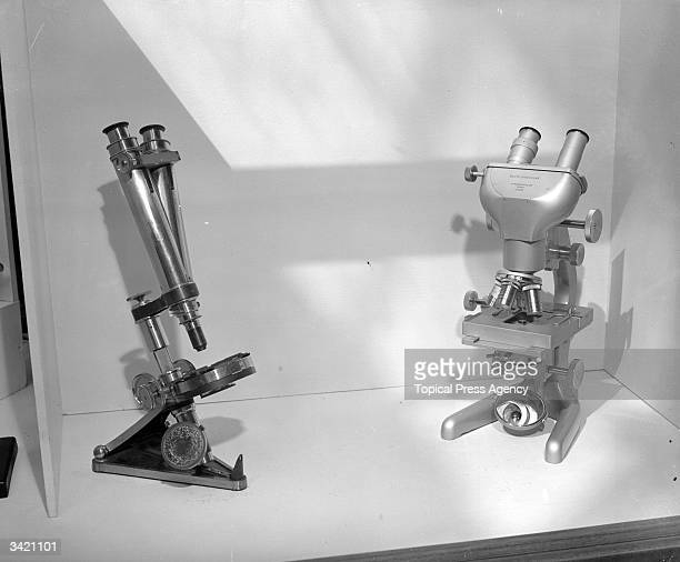 Two microscopes one of which was presented to the French scientist Louis Pasteur by Whitbreads Brewery
