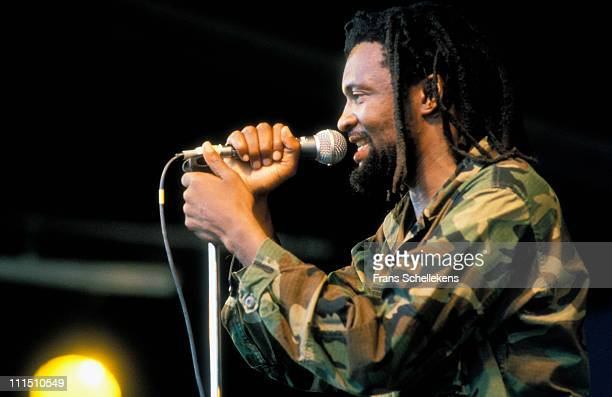 South African singer Lucky Dube performs at Africa festival in Delft Netherlands on 7th August 1991