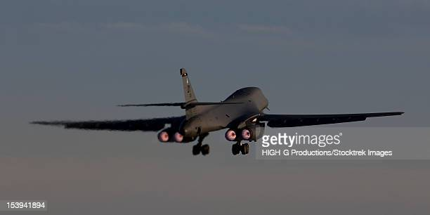 A 7th Bomb Wing B-1B Lancer takes off at sunset from Dyess Air Force Base, Texas.