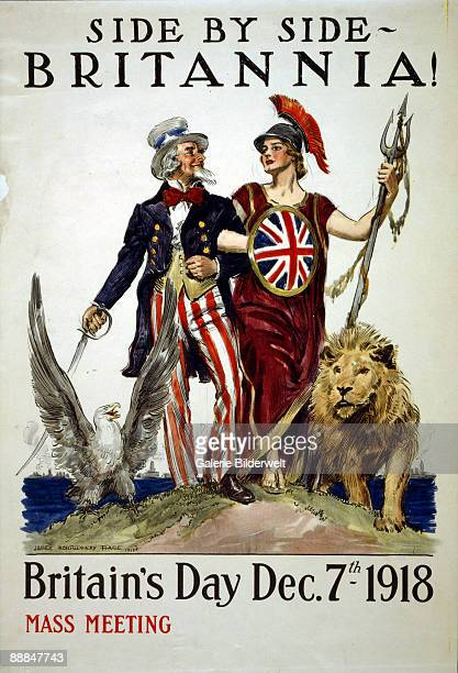 A poster advertising Britain's Day depicts Uncle Sam and Britannia arm in arm and accompanied by the national eagle and the lion On Britain's Day the...
