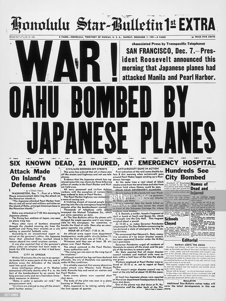 The newspaper tells of bombing in downtown Honolulu an hour and a half after the attack on Pearl Harbour (Pearl Harbor) by the Japanese airforce.