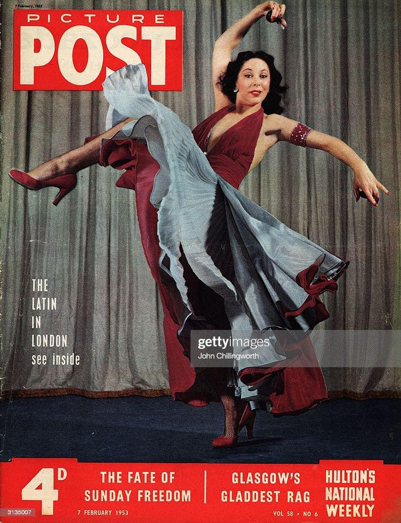 Vadja Deloro, ballerina and flamenco dancer from San Francisco, during her flamenco routine at the London Hippodrome. Original Publication: Picture Post - Cover - pub. 58