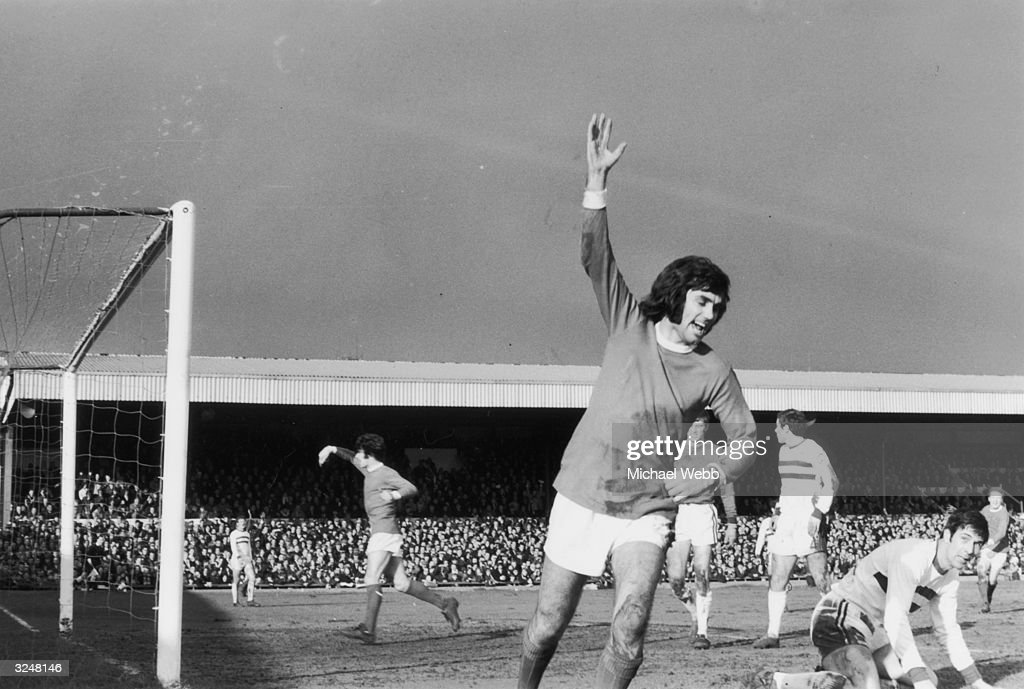 Manchester United player <a gi-track='captionPersonalityLinkClicked' href=/galleries/search?phrase=George+Best&family=editorial&specificpeople=206235 ng-click='$event.stopPropagation()'>George Best</a> celebrating after scoring the first goal in the fifth round of the F A Cup against Northampton.