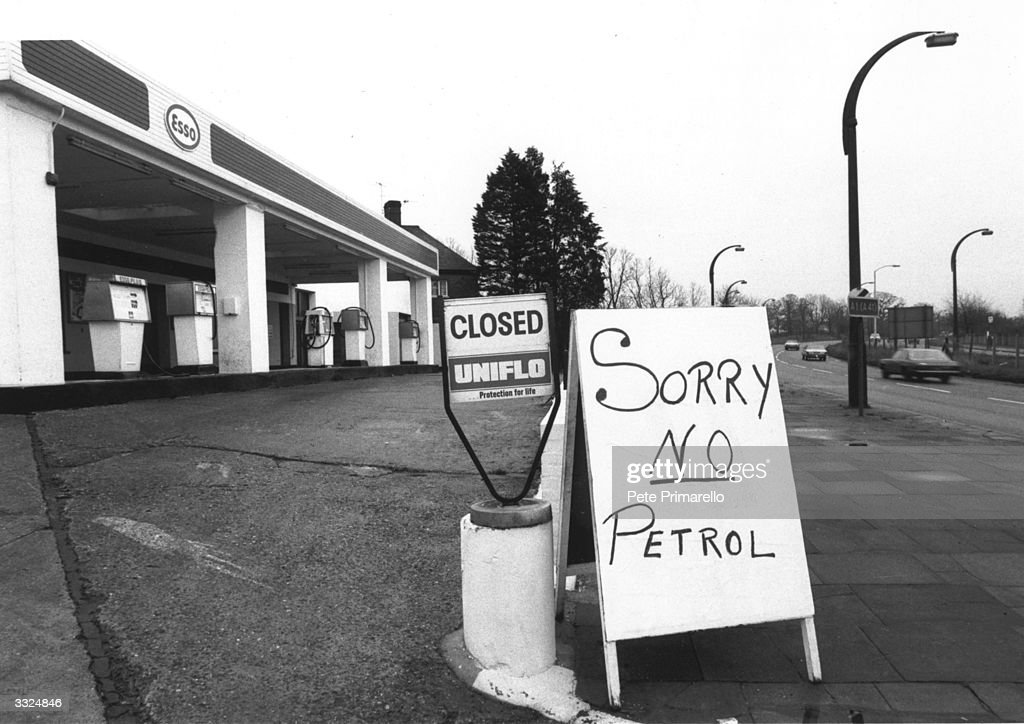 A sign reading 'Sorry No Petrol' outside a service station during a petrol shortage.