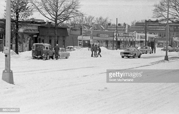 People venture out on Woodhaven Boulevard in Queens NY in the aftermath of the Blizzard of 1978