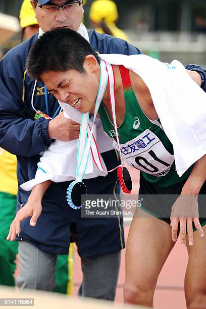 7th finish Yuki Kawauchi of Japan reacts after the 71st Lake Biwa Mainichi Marathon at the Ojiyama Athletic Stadium on March 6 2016 in Otsu Shiga...