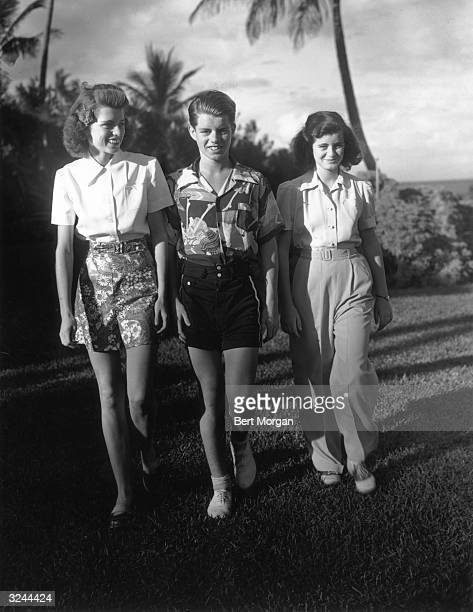 EXCLUSIVE Original Publication From left to right Eunice Robert and Jean Kennedy children of US ambassador Joseph P Kennedy and his wife Rose Kennedy...