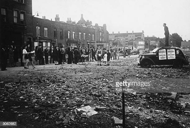William Herbrand Lord Buckhurst the Conservative candidate for Bethnal Green speaking on top of a car Original Publication Picture Post 2026 The...