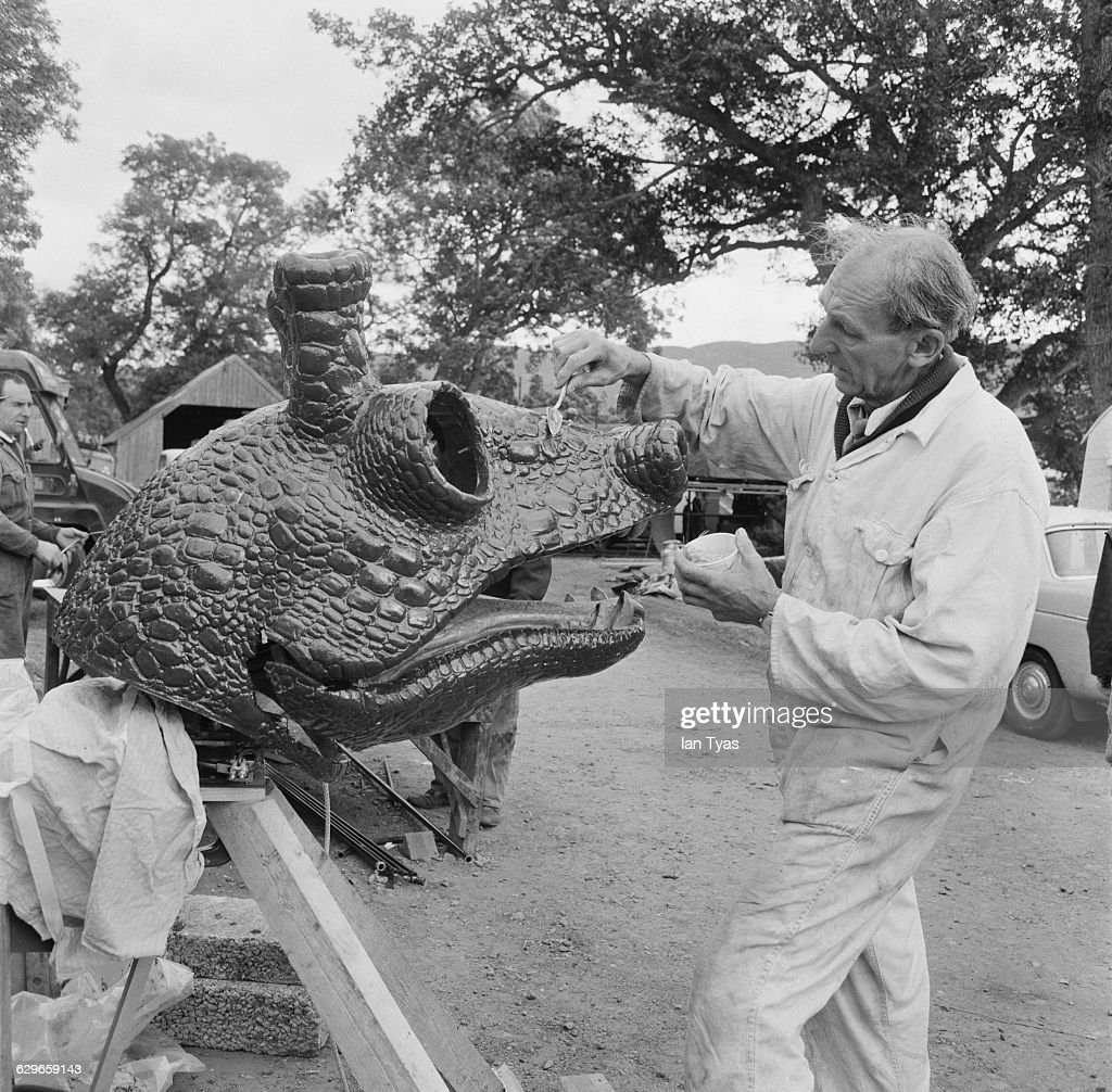Tom Davies creates a fibreglass model of the Loch Ness Monster for the film 'The Private Life of Sherlock Holmes' beside Loch Ness in Scotland The...