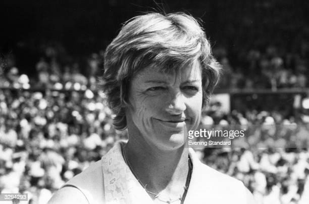 Australian tennis player Margaret Court smiles at the Wimbledon Lawn Tennis Championships