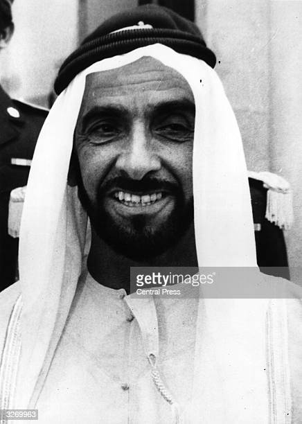 Portrait of the President of the United Arab Emirates Sheikh Zaid Bin Sultan during an official visit to France