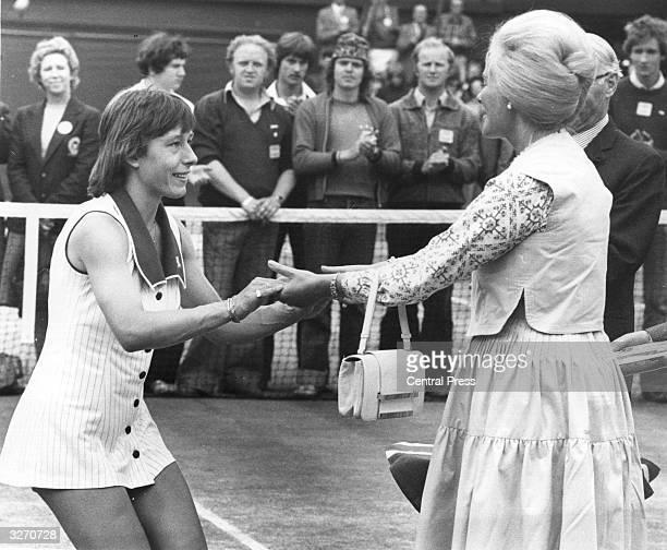 The Duchess of Kent congratulates Czechborn tennis player Martina Navratilova on her first win at Wimbledon beating Chris Evert of the USA