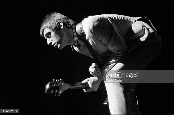 Paul Weller from The Jam performs live on stage at the Rainbow Theatre in Finsbury Park London on 7th July 1981