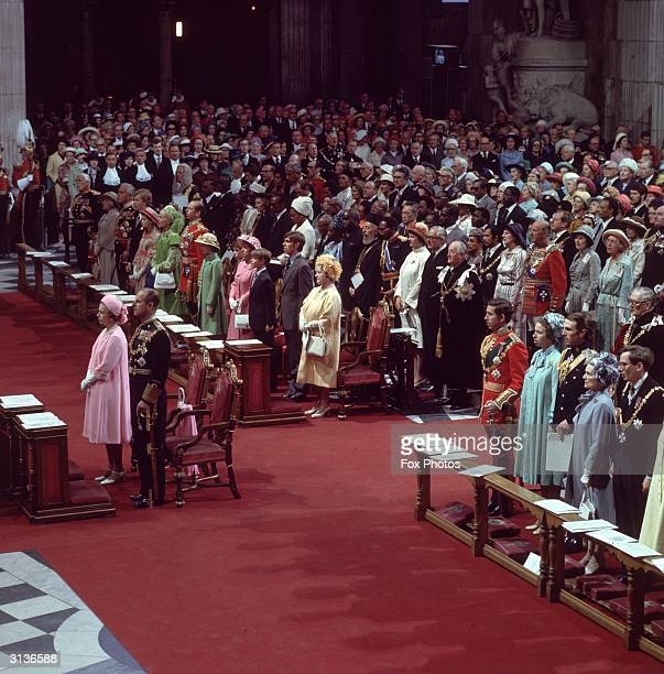 Queen Elizabeth II of Great Britain and Prince Philip with other members of the royal family in St Paul's Cathedral during celebrations for the...