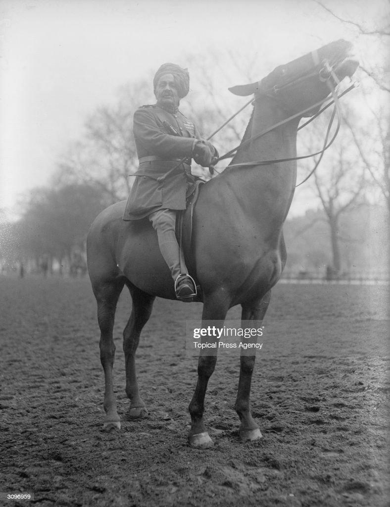 Sir Pertab Singh on horseback.