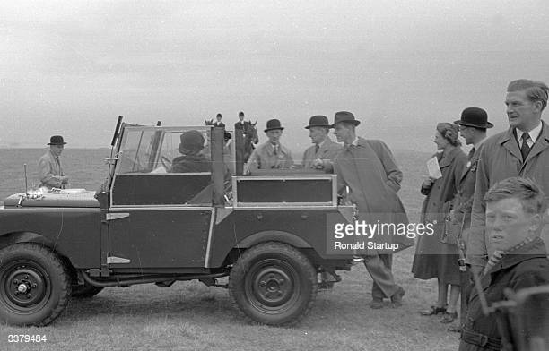 Queen Elizabeth II attending her first pointtopoint season at the United Services PointtoPoint at Larkhill Wiltshire The Coronation Cup had 85...
