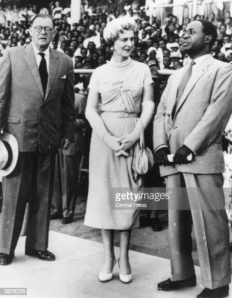 First Prime Minister of Ghana Dr Kwame Nkrumah at the rally celebrating Ghanaian independence in Accra stadium in front of 50000 Africans He is...