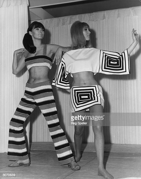 Liz Allen wearing a Lurex trouser suit and Maureen Lynne in an opart black and white play suit from a range of Italian knitwear fashions Both outfits...