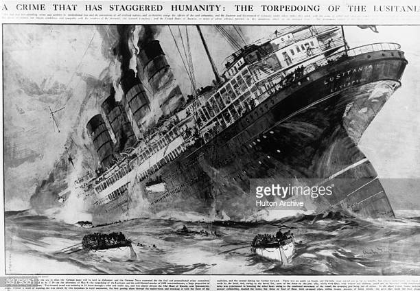 The British passenger liner 'Lusitania' sinking off the southern coast of Ireland after a German torpedo attack with the loss of 1198 lives on the...