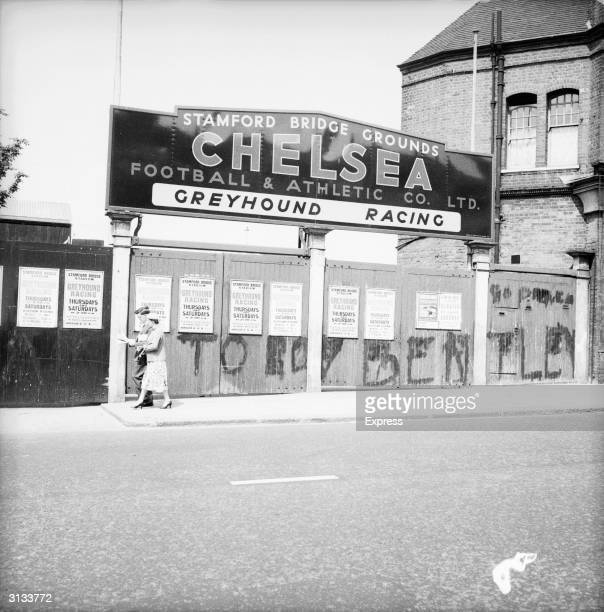 Graffiti on the gates outside Stamford Bridge the home of Chelsea football club