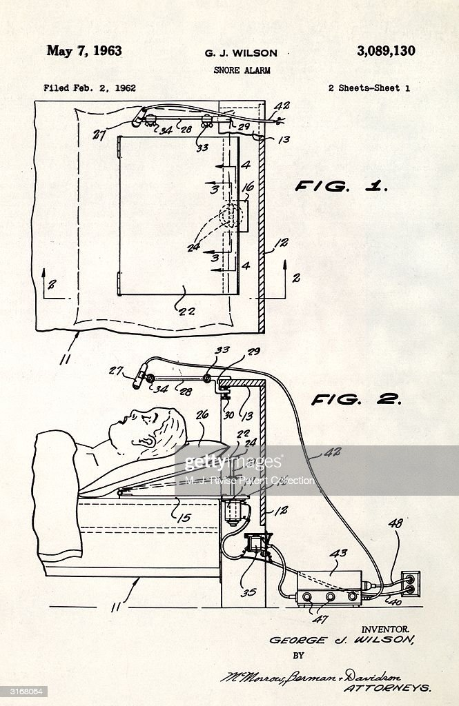 George J Wilson's patent (no. 3089130) for a snore alarm. It works by monitoring noise levels with a microphone and adjusting the angle of the sleeper's head when snoring is detected.