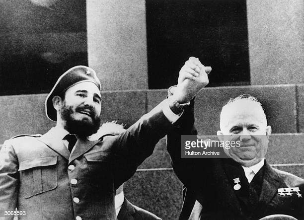 Cuban revolutionary Fidel Castro with Soviet premier Nikita Khrushchev at the Lenin Mausoleum in Red Square Moscow