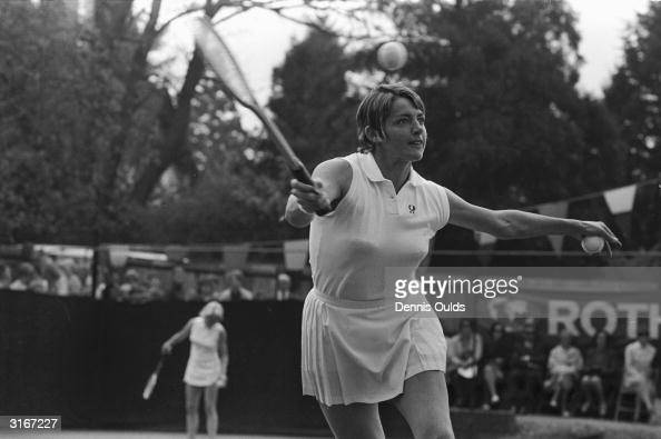 Australian tennis player Margaret Court returning a ball in her game against Britain's Shirley Brasher in the fourth round of the Surrey Hard Court...
