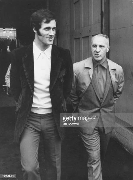 The Scottish manager of Liverpool Football Club Bill Shankly with the Arsenal player George Graham at Wembley Stadium London a day before the FA Cup...