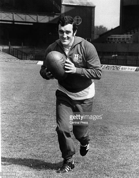 British Lions captain Phil Bennett during a practice session at Twickenham Rugby grounds