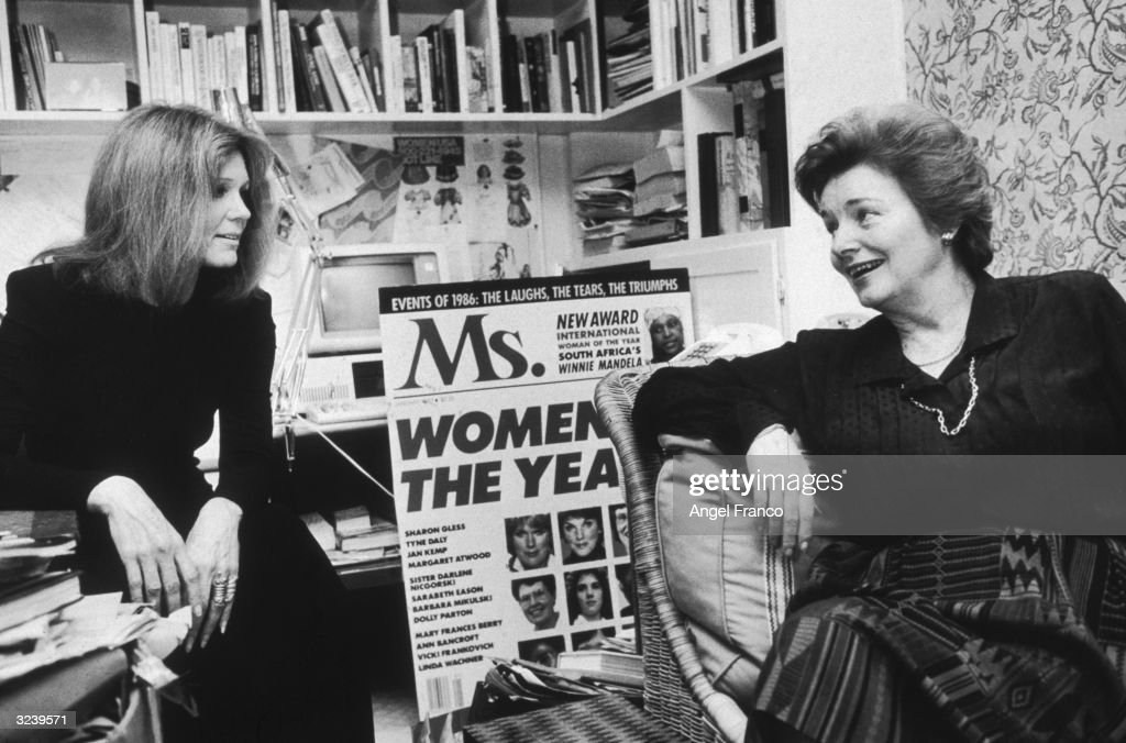 American feminist activists and writers Gloria Steinem (L) and Patricia Carbine, cofounders of Ms. Magazine, talking in an office. The pair were seeking capital to redesign the magazine.