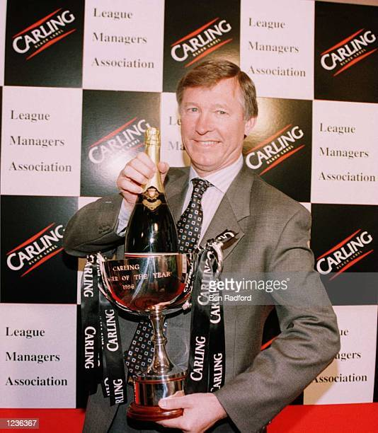 Manager Alex Ferguson of Manchester United with the Carling Manager of The Year award during the league managers association manager of the year...