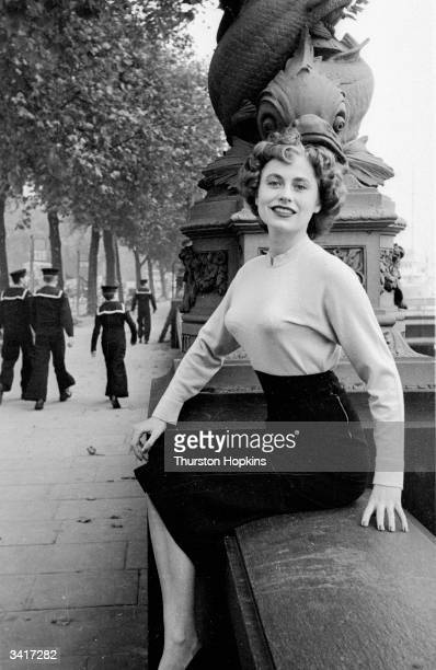 Miss Norway Solveig Gulbrandsen a contestant in a 'Miss World' beauty competition sponsored by Mecca Dancing posing on the Embankment London Original...
